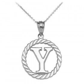 Rope Circle Letter Y Pendant Necklace in 9ct White Gold