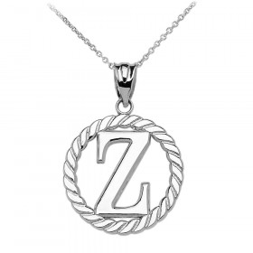 Rope Circle Letter Z Pendant Necklace in 9ct White Gold