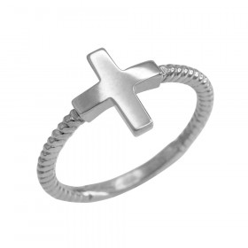 Roped Sideways Cross Ring in 9ct White Gold