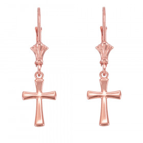 Rounded Cross Earrings in 9ct Rose Gold