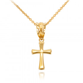 Rounded Mini Cross Pendant Necklace in 9ct Gold