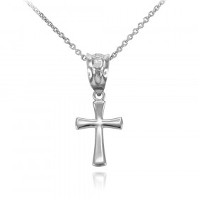 Rounded Mini Cross Pendant Necklace in 9ct White Gold
