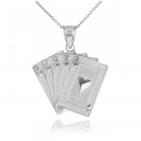Royal Flush Poker Pendant Necklace in 9ct White Gold