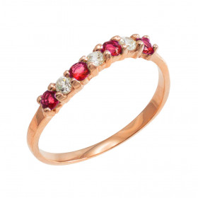 Ruby and CZ Stackable Wavy Ring in 9ct Rose Gold