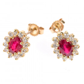 Ruby and CZ Stud Earrings in 9ct Gold