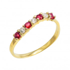 Ruby and CZ Wavy Stackable Ring in 9ct Gold