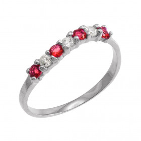 Ruby and CZ Wavy Stackable Ring in 9ct White Gold