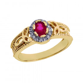 Ruby and Diamond Carat Trinity Knot Ring in 9ct Gold