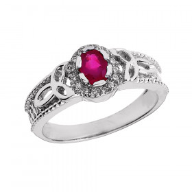 Ruby and Diamond Carat Trinity Knot Ring in 9ct White Gold