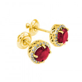 Ruby and Diamond Earrings in 9ct Gold