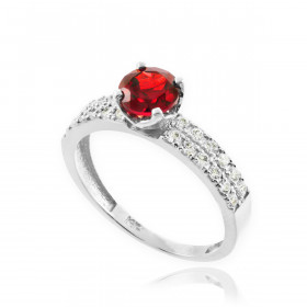 0.24ct Ruby and Diamond Engagement Ring in 9ct White Gold