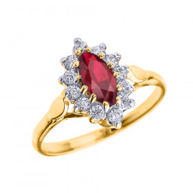 0.5ct Ruby and Diamond Halo Engagement Ring in 9ct Gold