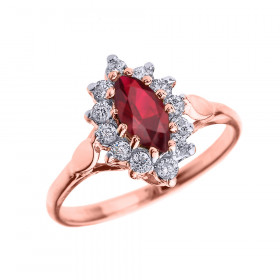0.5ct Ruby and Diamond Halo Engagement Ring in 9ct Rose Gold