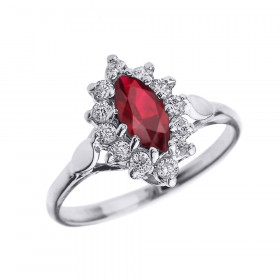 0.5ct Ruby and Diamond Halo Engagement Ring in 9ct White Gold
