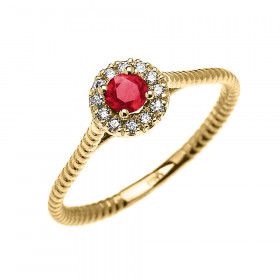 0.08ct Ruby and Diamond Halo Rope Promise Twisted Rope Ring in 9ct Gold