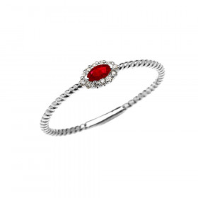 0.06ct Ruby and Diamond Halo Rope Promise Twisted Rope Ring in 9ct White Gold