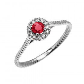 0.08ct Ruby and Diamond Halo Rope Promise Twisted Rope Ring in 9ct White Gold
