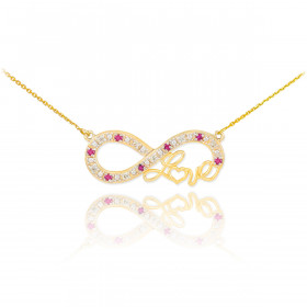Ruby and Diamond Infinity Love Script Pendant Necklace in 9ct Gold