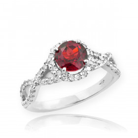 0.6ct Ruby and Diamond Infinity Ring in 9ct White Gold