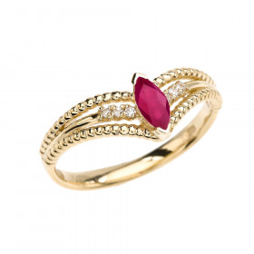 0.15ct Ruby and Diamond Modern Beaded Engagement Ring in 9ct Gold