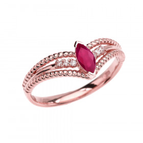 0.15ct Ruby and Diamond Modern Beaded Engagement Ring in 9ct Rose Gold