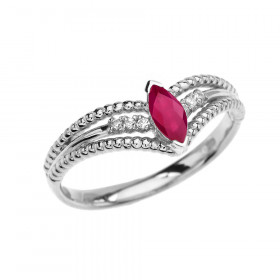 0.15ct Ruby and Diamond Modern Beaded Engagement Ring in 9ct White Gold