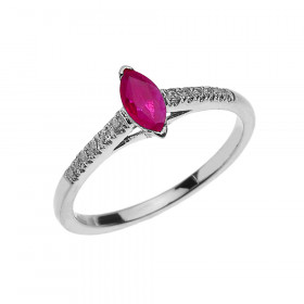 0.3ct Ruby and Diamond Modern Solitaire Engagement Ring in 9ct White Gold