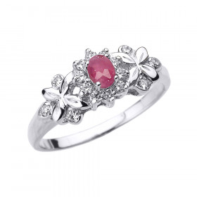 Ruby and Diamond Oval Halo Engagement Ring in 9ct White Gold