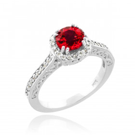 Ruby and Diamond Pave Halo Engagement Ring in 9ct White Gold
