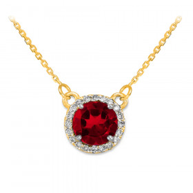 1.0ct Ruby and Diamond Pendant Necklace in 9ct Gold