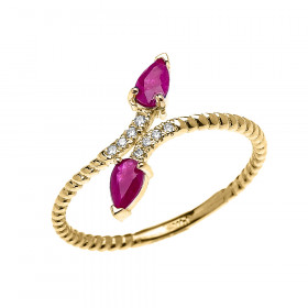 0.12ct Ruby and Diamond Rope Design Promise Twisted Rope Ring in 9ct Gold