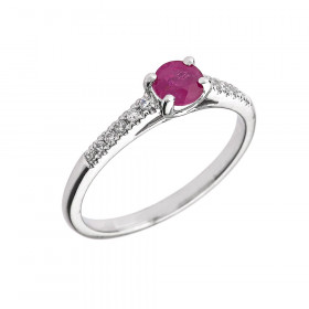 0.4ct Ruby and Diamond Solitaire Engagement Ring in 9ct White Gold
