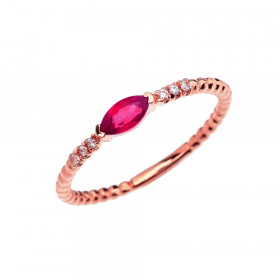0.18ct Ruby and Diamond Stackable Beaded Ring in 9ct Rose Gold