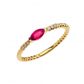 0.18ct Ruby and Diamond Stackable Beaded Twisted Rope Ring in 9ct Gold