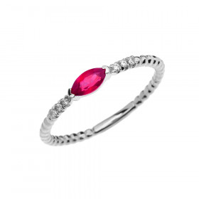 0.18ct Ruby and Diamond Stackable Beaded Twisted Rope Ring in 9ct White Gold
