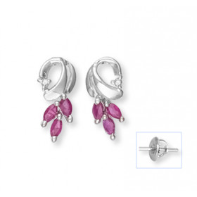 Ruby and Diamond Stud Earrings in 9ct White Gold