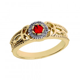 Ruby and Diamond Trinity Knot Ring in 9ct Gold