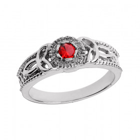 Ruby and Diamond Trinity Knot Ring in 9ct White Gold