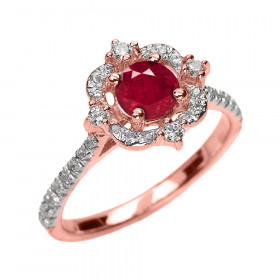 0.45ct Ruby and Diamond Vintage Engagement Ring in 9ct Rose Gold