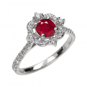 0.45ct Ruby and Diamond Vintage Engagement Ring in 9ct White Gold