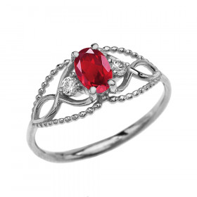 0.25ct Ruby Elegant Beaded Twisted Rope Ring in 9ct White Gold