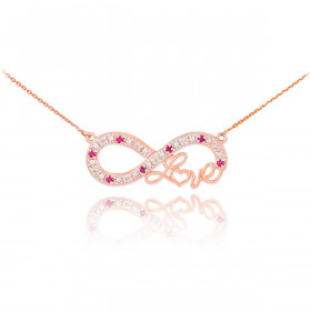 Ruby Infinity Love Script Pendant Necklace in 9ct Rose Gold