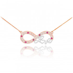 Ruby Infinity Love Script Pendant Necklace in 9ct Two-Tone Gold