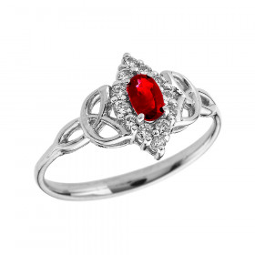 0.2ct Ruby Oval Trinity Knot Halo Ring in 9ct White Gold