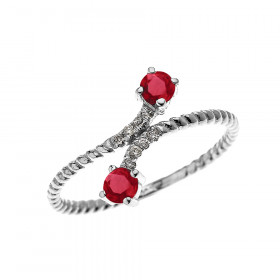 0.16ct Ruby Rope Design Promise Twisted Rope Ring in 9ct White Gold