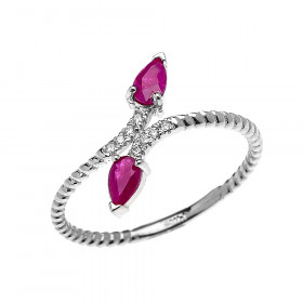 0.12ct Ruby Rope Design Promise Twisted Rope Ring in 9ct White Gold