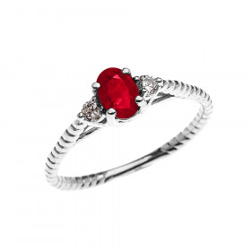 0.25ct Ruby Rope Design Promise Twisted Rope Ring in 9ct White Gold