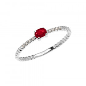 0.1ct Ruby Rope Design Promise Twisted Rope Ring in 9ct White Gold