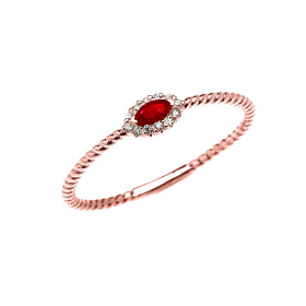 0.06ct Ruby Stackable Halo Rope Promise Twisted Rope Ring in 9ct Rose Gold