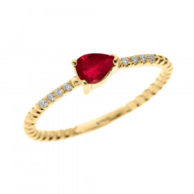 0.15ct Ruby Stackable Pear Shape Rope Design Twisted Rope Ring in 9ct Gold